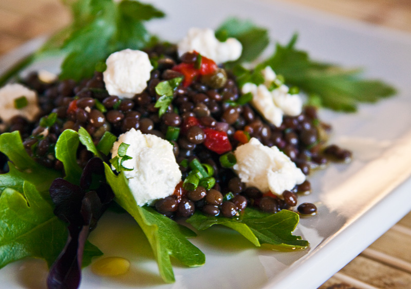 Black beluga lentil salad with goat cheese