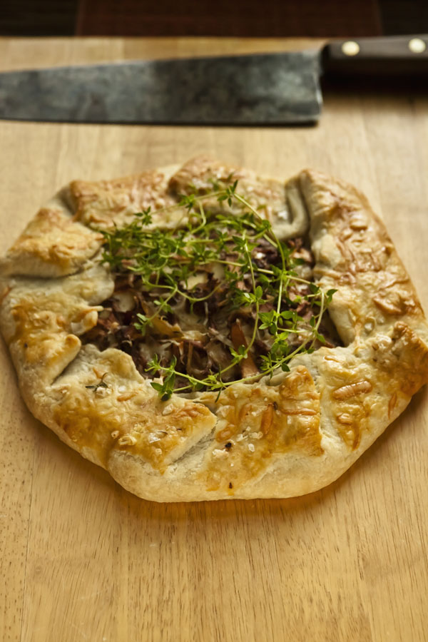 Rustic Wild Mushroom Tart, made with Chanterelle Mushrooms