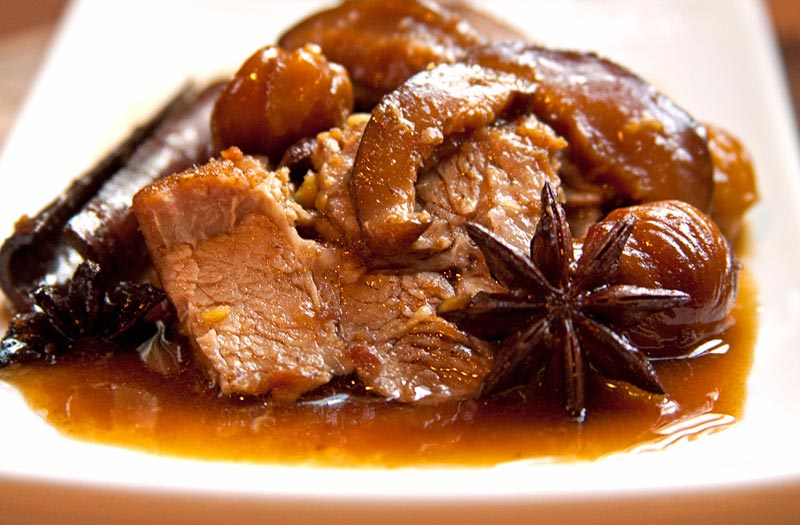 Red Cooked Pork with Chestnuts | The Earthy Delights Recipe Blog