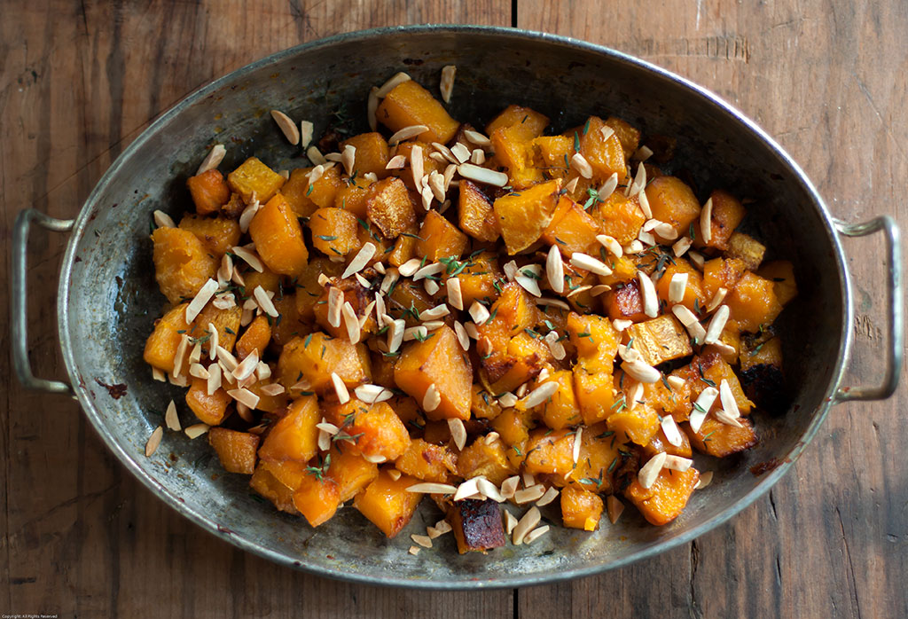 Roasted Butternut Squash With Truffle Honey, Thyme & Almonds | The ...