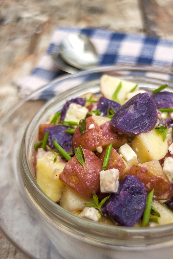 Red, White & Blue Potato Salad With Feta Cheese | The Earthy Delights ...