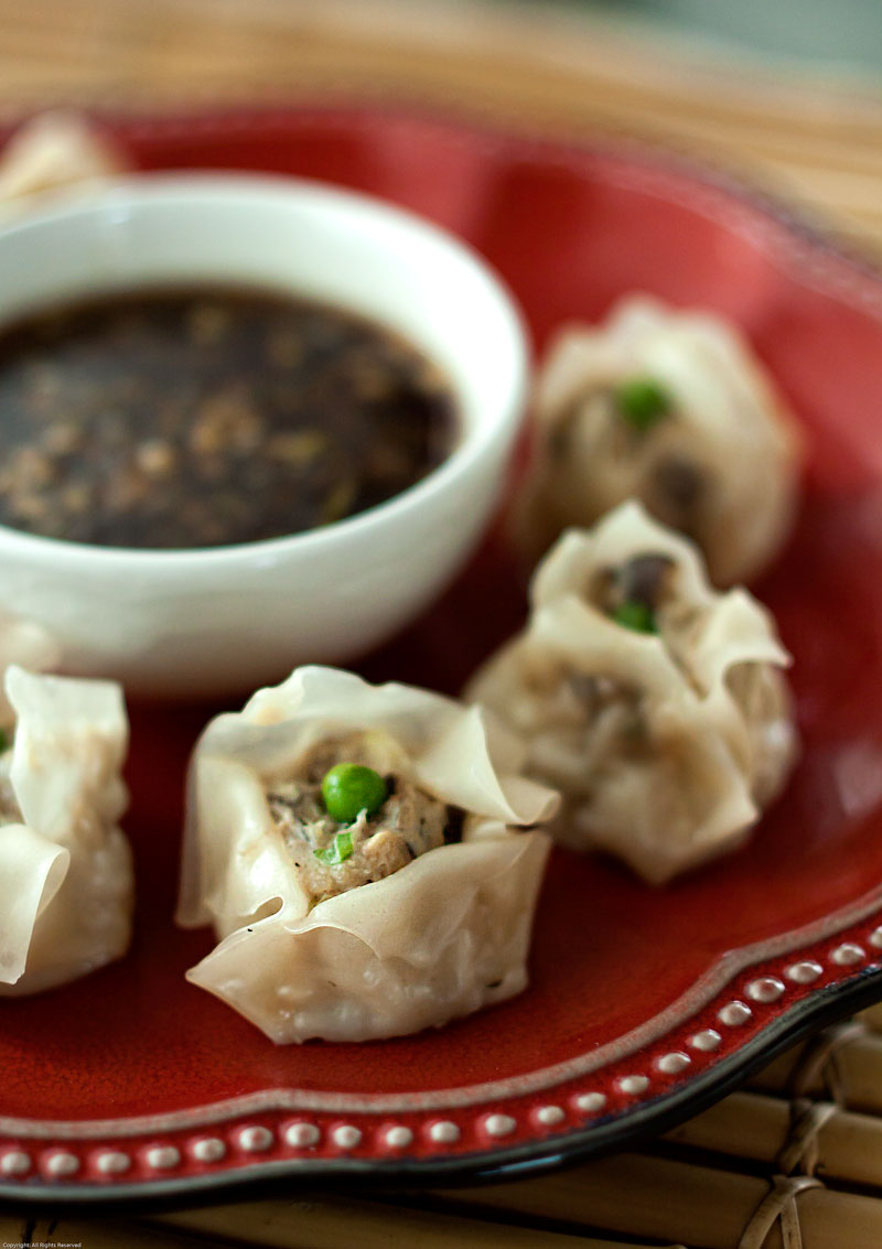 black garlic shu mai with smoked soy dipping sauce  the