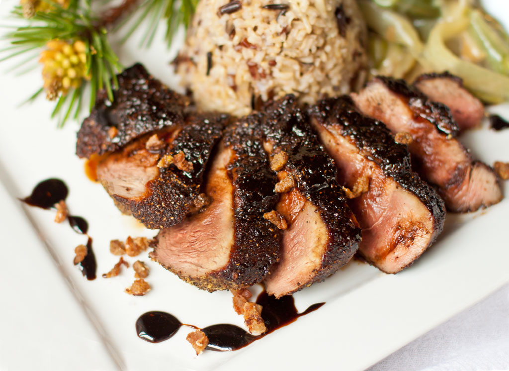 Spiced Duck Breast with Sherry Vinegar-Pine Syrup Glaze